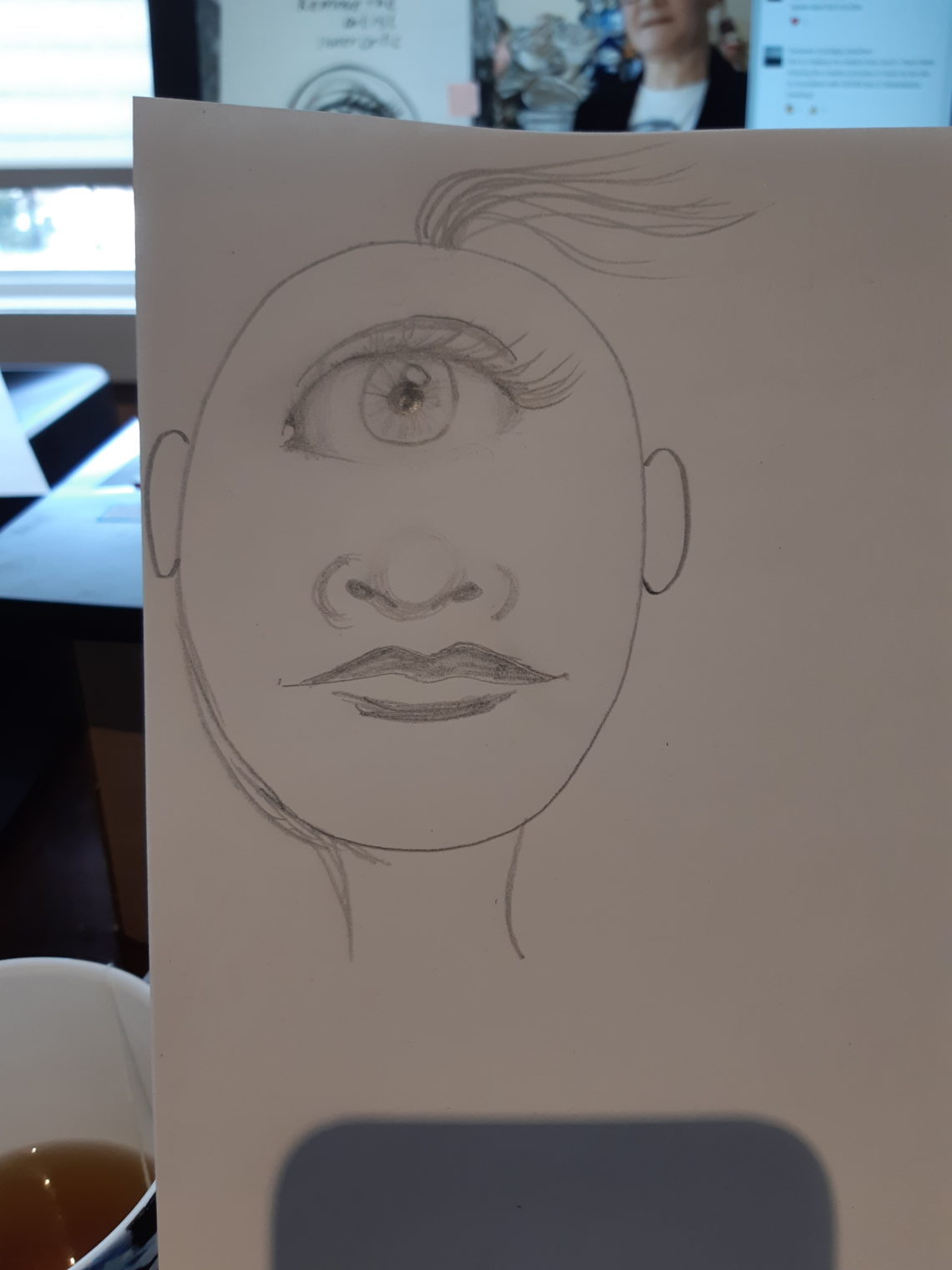 Cyclops drawing to practice eye, nose, mouth drawing