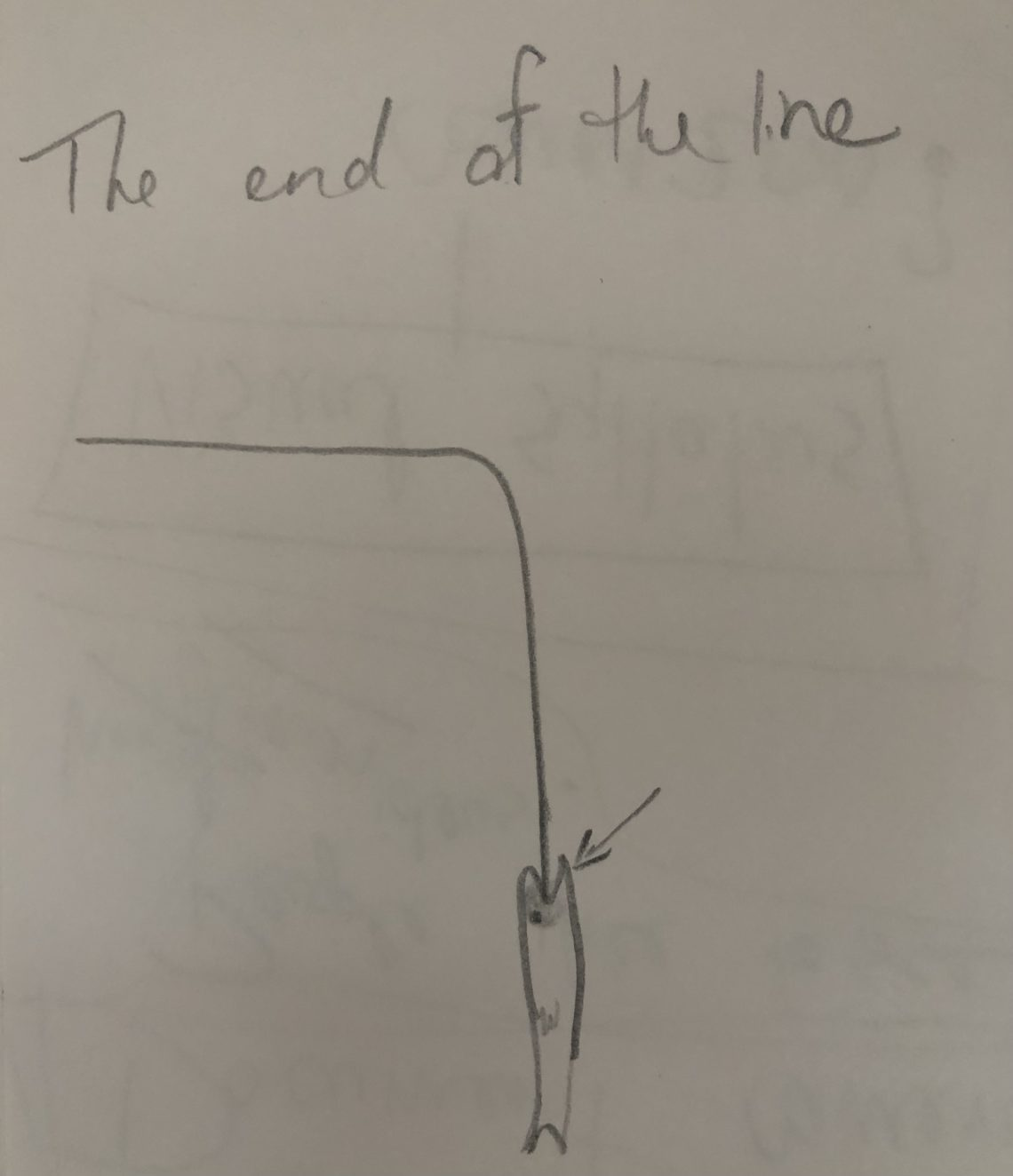 A crude pencil drawing of a fish on a fishing line