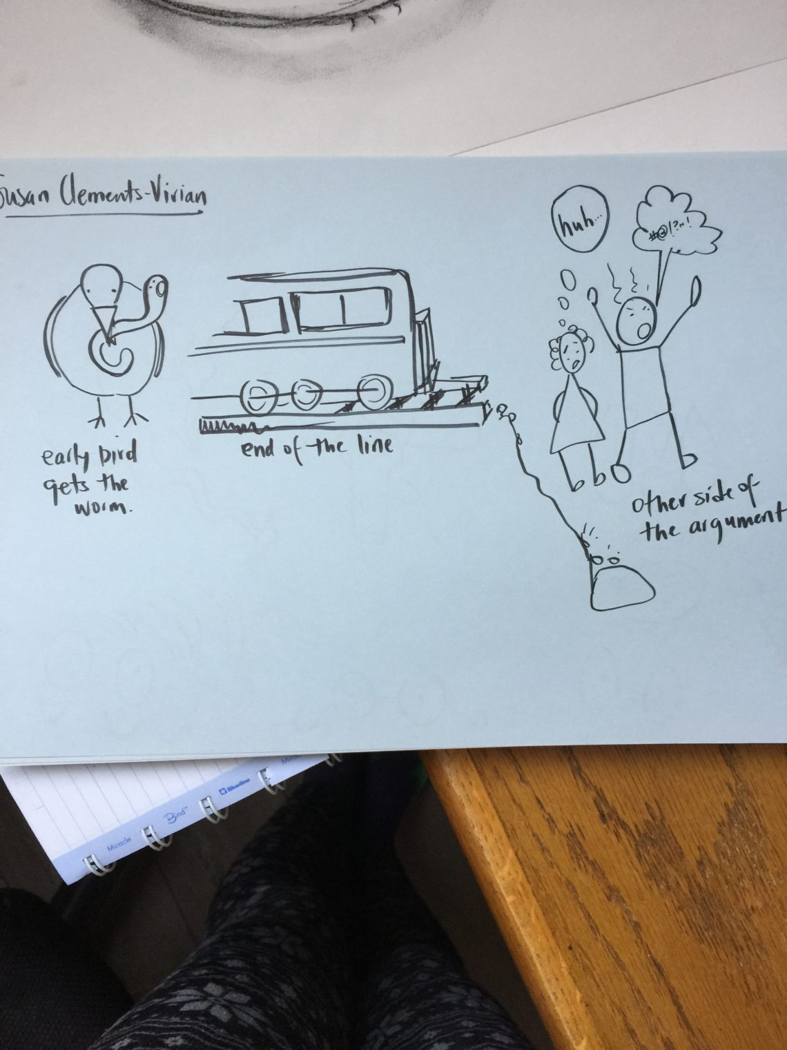 drawing of bird and worm, train at end of tracks, two people arguing