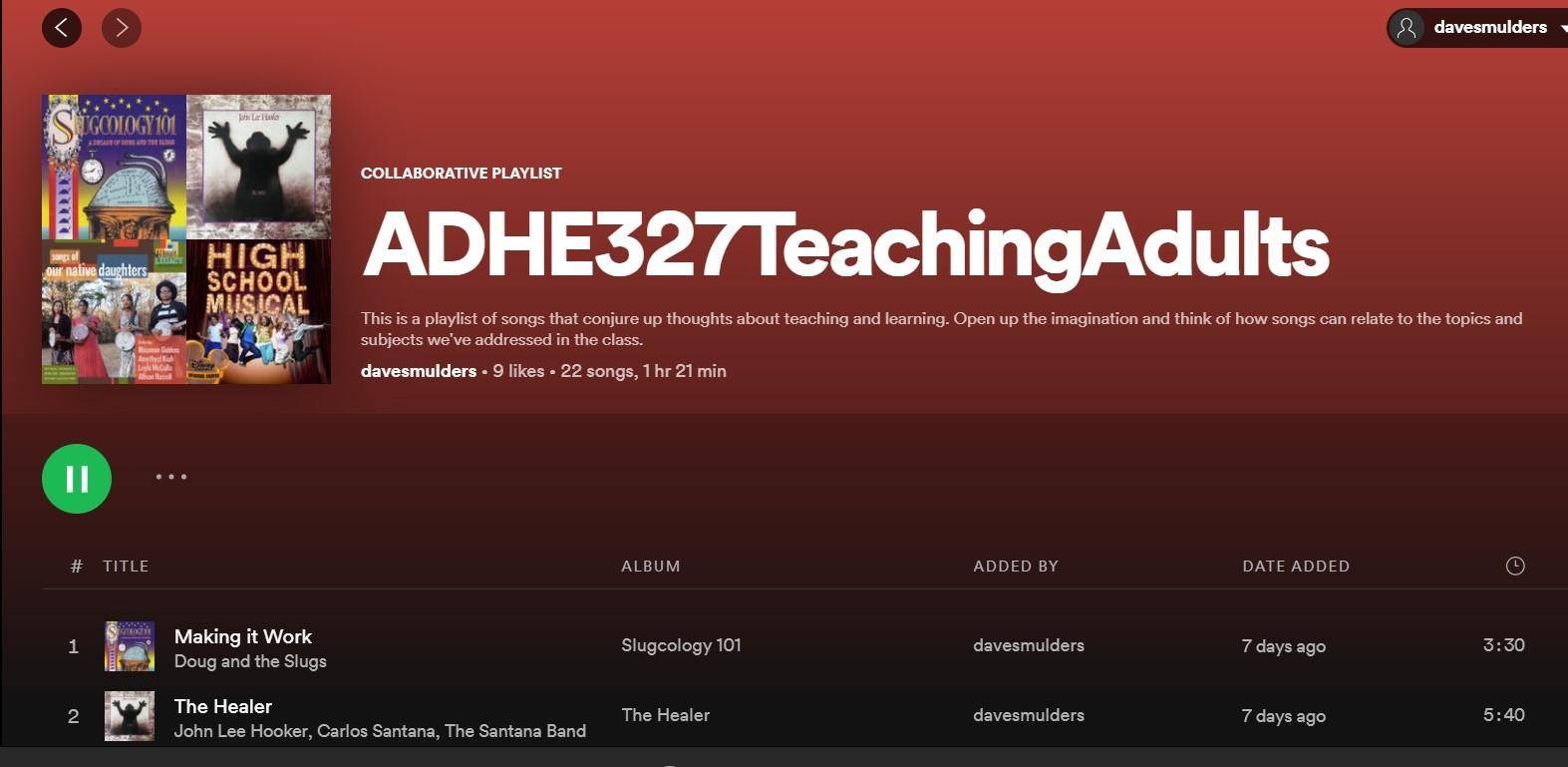screenshot of my class's Spotify Playlist at https://open.spotify.com/playlist/4fvnLUFuMuJkQis60JOlYk